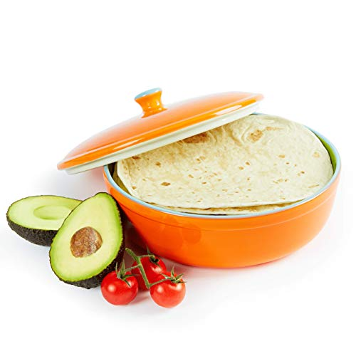 Uno Casa Keramik Tortilla Wärmer - Servieren Sie Tortillas zur Party oder Fiesta zu Hause - geeignet als Pfannkuchen und Chips Aufbewahung- sicher für den Einsatz in Mikrowelle und Ofen - 22cm Tortilla Roti Maker