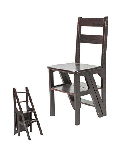 LIXIONG Chaise Pliante Échelles Multifonctions Usage Double Échelle à Quatre étapes Bambou, 4 Couleurs tabourets de bibliothèque (Couleur : Black)