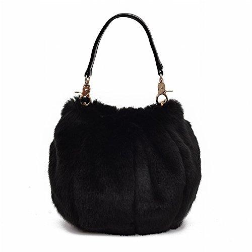 Borse di pelliccia della pelliccia del prepucchio delle lanterne dei capelli delle borse delle donne delle borse di spalla delle donne , nero