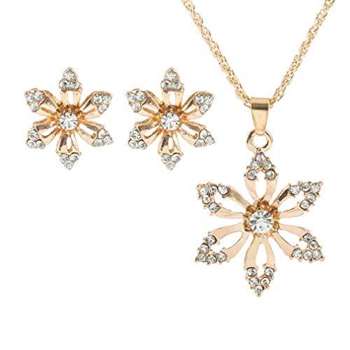1 Satz Elegant Weihnachts Blume Halskette Ohrringe Sätze Ohrstecker Set Mode Frauen Schmuck Set Hochzeit Braut Schmuck Moeavan ()
