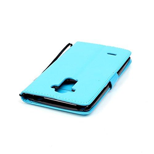Apple iPhone 4 /4S Etui Cuir [Impression] - Camiter Black conception de gaufrage papillon Etui à Rabat Fonction Portefeuille de Carte Slots Support Bouton Magnétique Case Housse Coque Apple iPhone 4 / Light Blue
