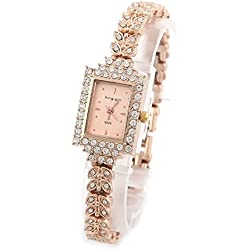 PSFY Brand New Lady Women Quartz Rhinestone Crystal Wrist Watch Square gold surface