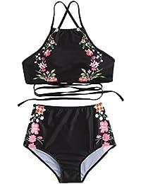 SOLY HUX Bikini con Estampado de Flores y Espalda Cruzada +2 PCS Traje de Baño