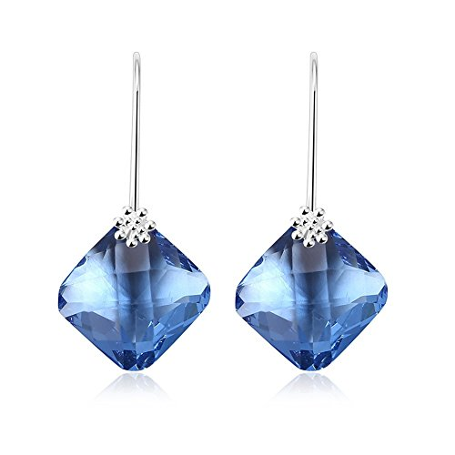 Fjyouria charm da donna placcato argento quadrato zaffiro blu cristallo goccia gancio orecchini cristallo ciondolo orecchini regalo