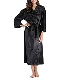 Mujer Kimono Satén Largo, Camisón Lujoso Robe Albornoz Dama De Honor Ropa De Dormir Pijama