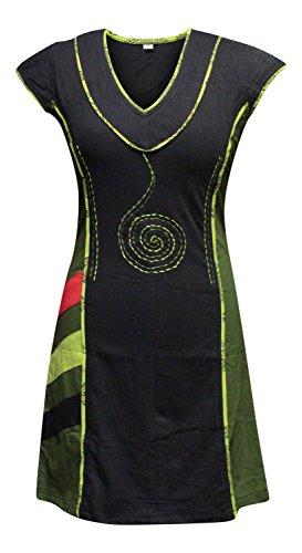 Shopoholic Moda Da Donna Elegant scollo a V Verde Nera Spiral Ricamo Abito - VERDE MIX, 3XL