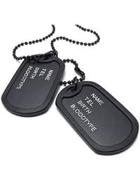 KONOV Joyería Collar con Colgante de hombre mujer, Dog Tag, Placa Nombre Militar, Cadena 68cm, Aleación, Color negro (con bolsa de regalo)