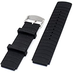 iGreely® 22mm / 200mm Sport Black Silicone Watchband Wristband for Huawei Watch Smart Watch Replacement Band