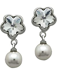 Mahi with Swarovski Elements Valentine White Floral Pearl Rhodium Plated Earrings for Women ER1104098RWhi