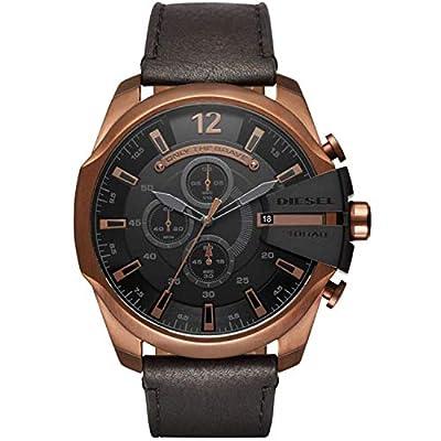 Diesel Relojes Mega Chief Reloj cronógrafo de Piel de Color Dorado y Negro