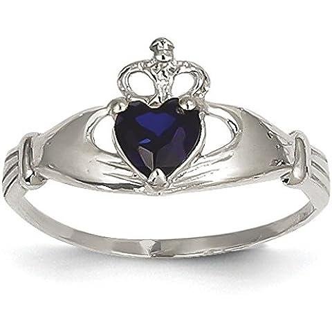 14kt oro bianco CZ Settembre Birthstone Claddagh anello