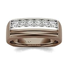Idea Regalo - Diamond Studs Forever - Anello da uomo - oro bianco e cioccolato 14K con diamanti 1/2 ct totali GH/I1