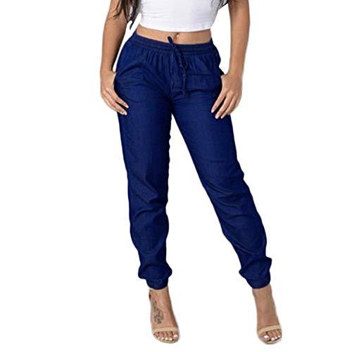 AMUSTER Damen Leinenhose Leichte Sommerhose Tunnelbund mit Gummizug Frauen Elastische Taille Freizeithosen Hohe Taille Jeans beiläufige Blau Denim-Hosen