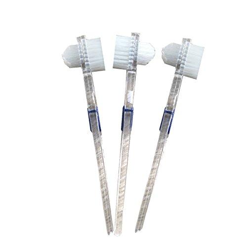 ROSENICE 3 Stücke Prothesenbürste, Transparent Prothese Pinsel doppelseitige Zahnbürste