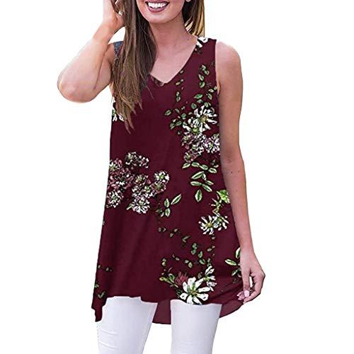 Momoxi Frauen Sommer ärmelloses Print V-Ausschnitt T-Shirt Tunika Tops Bluse Shirts Sommertop,Spitze Weste Oberteile Unterwäsche Trägertop Burgund M -