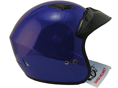 Qtech - Casco aperto scooter moto EC 22 - rosso argento nero blu - Blu - S (55-56 cm)