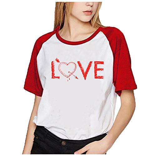 yazidan Loving Liebe Drucken Shirts Couple Damen Herren Shirt Pärchen T-Shirts Paar Tshirt Kurzarm Valentinstag Oberteile Bluse 1 Stücke