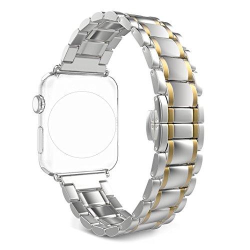 Armband für Apple Watch 38MM, Rosa Schleife iWatch Band Classic Solides Edelstahl Gliederarmband Replacement Wristband Series 2 Watch Strap für Apple Watch Series 4 3 2 1 Sports Edition 38mm 40mm