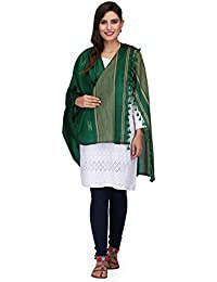 The Weave Traveller Handloom Hand Woven Green Cotton Dupatta Cum Stole With Pom Pom Edgings For Women & Girls