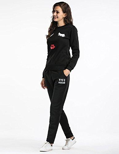 Sitengle Damen 2pcs Sportanzug Kapuzenpullover + Hose mit Augen und Mund Zeichen Jogging Trainingsanzug Suits Weiß