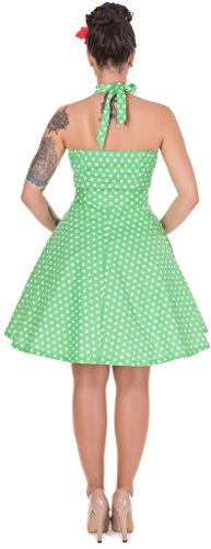 Dolly and Dotty™ Damen 'Penny' Polka Dots Tupfen Neckholder Vintage Swing Kleid Grün (light Green N)