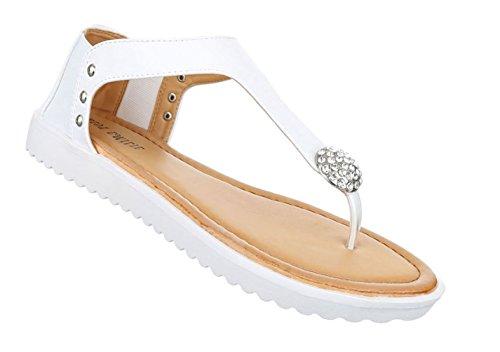 Damen Sandalen Schuhe Sommerschuhe Strandschuhe Zehentrenner Schwarz Gold Weiszlig; 36 37 38 39 40 41
