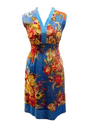 Blau Natalie fett Blumendruck V-Ausschnitt lange Tunika / Kleid - Fair Trade - Größe 38 (Floral Fett Top Print)