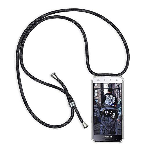 TUUT Handykette kompatibel mit Samsung Galaxy J3 2016 / J310 Handy-Kette Handy Hülle mit Kordel zum Umhängen Handyanhänger Halsband Lanyard Case/Handy Band Necklace [Stoßfest] - Schwarz