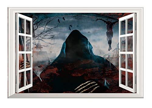 Halloween Der Tod Kommt Wandaufkleber Stereoskopisch 3D Gefälschtes Fenster Haus Dekoration (Der Halloween Tod)