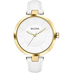 Bulova Classic Dress Women's Quartz Watch with White Dial Analogue Display and White Leather Strap 97L140