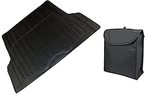XtremeAuto® Rubber / Fabric Boot Liner Mat + Litter Garbage Boot Tidy Bag (Large Boot Liner + Bag)