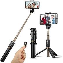 Bluetooth Palo Selfie Trípode con Control Remoto Universal para iPhone 6 6s 7 7plus Android Samsung Galaxy Sony de 3.5-6 pulgadas - BlitzWolf 3 en 1 Monópode Extensible Mini Selfie Stick Bolsillo 360° Rotación