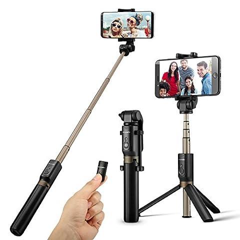 Bluetooth Selfie Stick Stativ mit Fernbedienung für iPhone 6 6s 7 7plus Android Samsung Galaxy 3.5-6 Zoll Bildschirm - BlitzWolf 3 in 1 Erweiterbar Monopod Mini Pocket Selfie Stick 360°