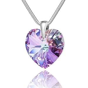 Collier en argent avec des éléments Swarovski d'origine Pendentif Coeur, violet multicolore / 18 mm, avec Box, un cadeau parfait pour une femme ou une petite amie