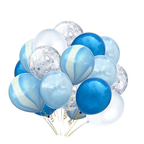 P Prettyia 20x Konfetti Ballon Latexballon Luftballon Party Supplies, 5 Stile Auswahl - Blau + Weiß + Silber (Und Weiße Luftballons Blau-silber)