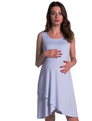 Damen Umstands- Kleid Nursing figurbetonte Midi-Modell Farbe Pastell Blue GR. S …