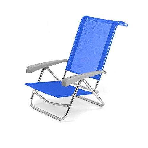 Spiaggina in alluminio sedia mare con schienale reclinabile blu solero