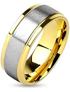 Paula & Fritz® Ring aus Edelstahl Chirurgenstahl 316L gold 6 – 8mm breit Paarring zweifarbig mit Aufsatz gebürstetes...
