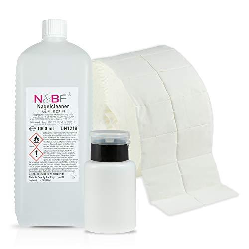 N&BF Nagel Cleaner Set 1000ml + Dispenser Pumpflasche + 1000 Zelletten Cellulose Pads (2 Rollen à 500 Stück) - 70% Isopropanol-Alkohol isopropylalkohol 1L - für Gelnägel - Nagelreiniger (Schwarz 150) -