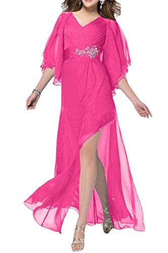 Sunvary a maniche corte da uomo Sexy laterali, in Chiffon Prom sera, varie taglie rosa fucsia