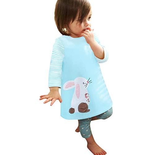 (Amoyl Mädchen Kleider Langarm Cartoon Kaninchen Drucken T Shirt Kleider Outfits (Blau, 2-3 Jahre))