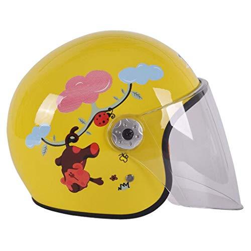 LCF Kinder Helm Kinder Baby Cartoon Herbst und Winter Batterie Auto Helm Jungen und Mädchen elektrisches Motorrad (Color : Yellow) - Batterie-autos Mädchen Für
