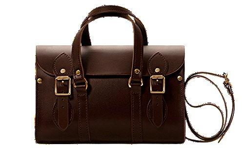 Campus® wc6Mesdames en cuir véritable Sacoche Sac à main en British Style-Fait à la main en Angleterre Marron - Chocolat