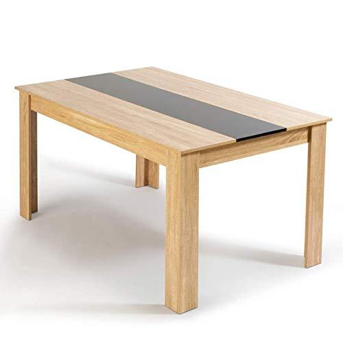 IDMarket - Table à manger de 6 personnes imitation hêtre et noire