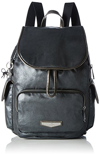 Kipling - City Pack S, Mochilas Mujer, Schwarz (Night Metal), One Size