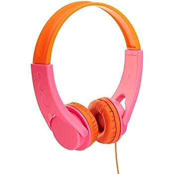 AmazonBasics Low Volume Kids' On-Ear Headphones  (Pink/Orange)