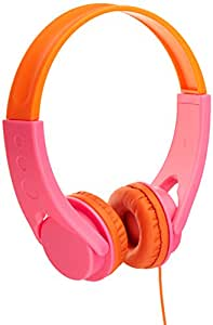 AmazonBasics Low Volume Kids' On-Ear Headphones  (Pink/Orange)