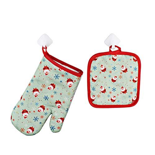 JoyFan 1 Paar Weihnachts-Bedruckte Oven Handschuhe Non-Slip Heat-resistente Küche BBQ Mitts