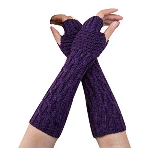 Stricken Damen Handschuhe SHOBDW Mode Frauen Winter Handgelenk Arm wärmer gestrickt lange fingerlose Handschuhe Handschuh (Lila) (Arm Wärmer Handschuhe)