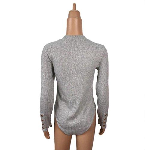 Sannysis Frauen Lange Hülsen Spielanzug Overall Oberseiten Blusen Hemd Grau